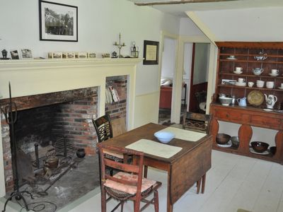 fireplace view of kitchen
