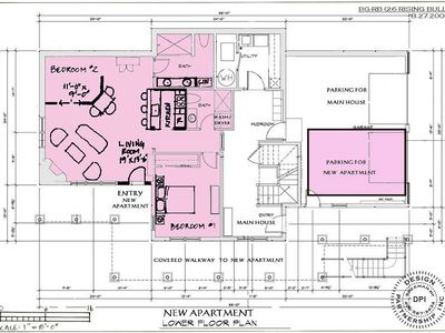 Floor plans of the lower apartment at Casa Big Sky.