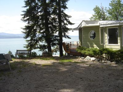 Bigfork house rental - House and Flathead Lake view from parking area