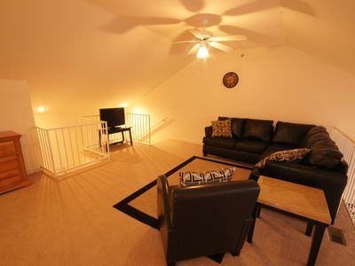 The Loft Living Area offers a TV w/ DVD and comfortable seating for lounging