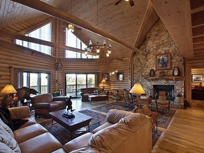 Expansive Living Room with stone fireplace