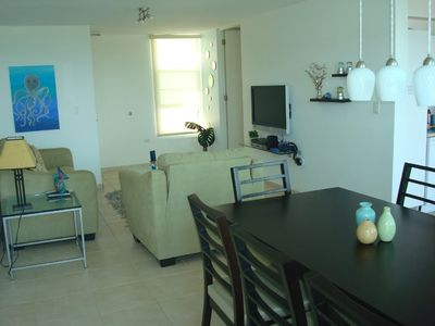 Living area with HDef TV and Wireless Internet