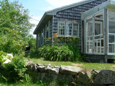 Biddeford cottage rental - Lilies, iris, lupines, lilacs; antique windows and screened porch welcome you.