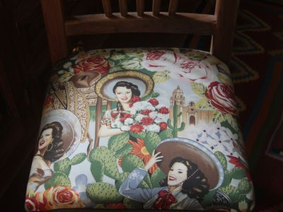 Even the dining room upholstery reflects the beauty of Mexico