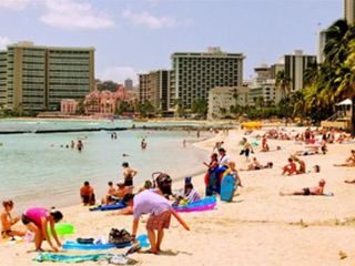 Waikiki condo photo - Kuhio Beach view west to the famous 'Pink Lady'--the Royal Hawaiian Hotel
