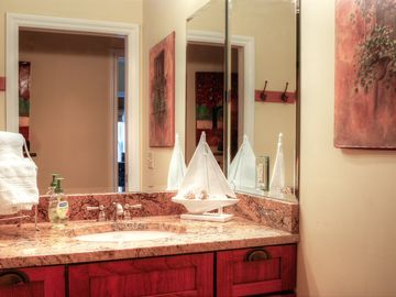 Beautiful granite countertops in bathroom