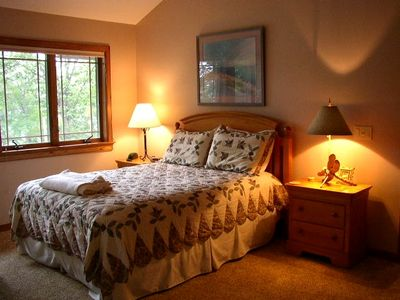 Queen Bedroom w/ private bath & view of Big Glen Lake.