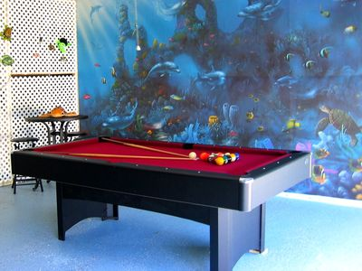 POOL TABLE WITH AQUATIC MURAL