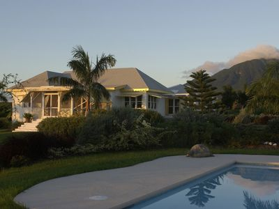 House and pool with Mt Nevis behind