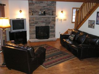 Towamensing Trails chalet photo - Sink Into The Leather Couch and Relax By The Fire