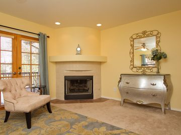 Main Level Master Fireplace Sitting Area.