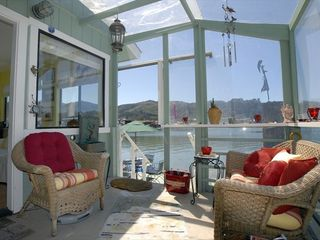 Sausalito house boat photo - Entry porch partially enclosed for chilly nights. Views of the bay and Mt. Tam