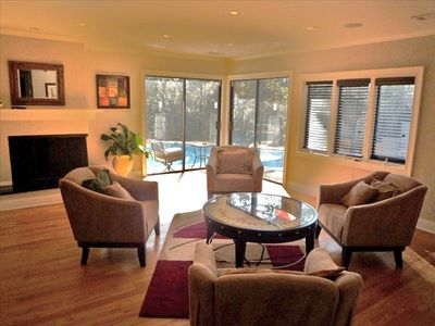Lower level living area, great for playing games and entertaining poolside!