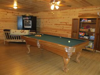 Ellijay cabin photo - Terrace Level Game room has Oak Armoire filled with Cards, Puzzles, and Games!