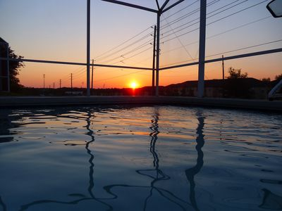 Sunset at the poolside