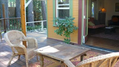 The back deck and living room combine for indoor/outdoor relaxing/barbequeing.