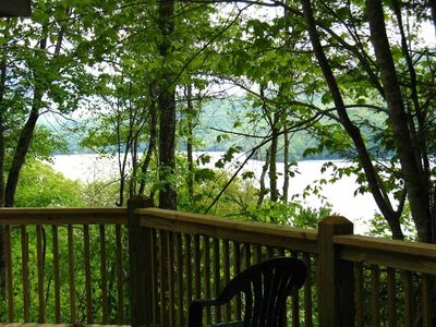 Secluded deck with  romantic  view of Lake Nantahala!