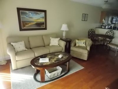 Cozy living room to relax in! We have lots of games, books, and DVD's to enjoy!