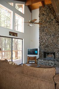 Windows and Stone Fireplace
