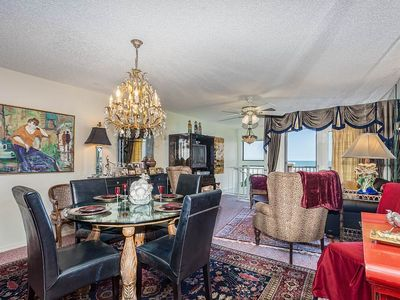 Our luxury living room has beautiful ocean views - When you aren't siteseeing, golfing, or playing on Crescent Beach, you'll be spending time in our luxury, 3-story ocean-view condo. One visit and you'll want to make this your annual retreat in St. Augustine, FL.