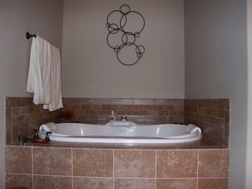 Large double air tub in master bath