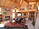 Relax in our rustic Great Room with working fireplace. - Innsbrook chalet vacation rental photo