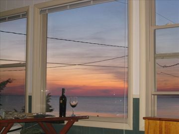 sunset view from living room and dining table inside