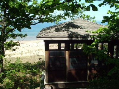 Gazebo at the top of the dune. Steps down to beach and up from the house.