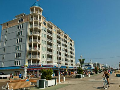 Oceanfront location of Belmont Towers on the Ocean City Boardwalk