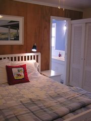 Southold house photo - Queen master bedroom with en suite full bathroom with shower