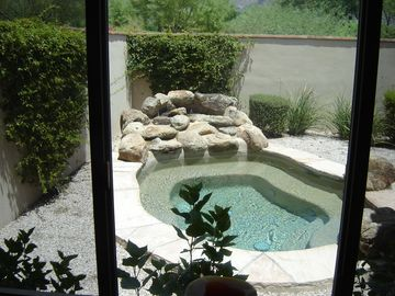 Master view of pool and mountains.