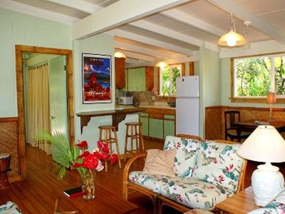 Pahoa cottage rental - LIvingroom looking towards kitchen