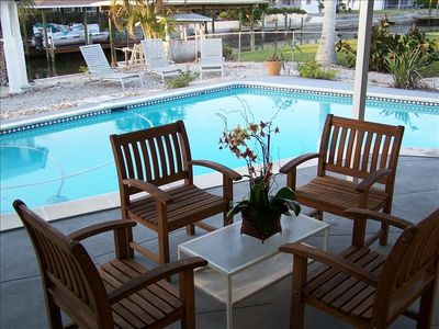 Enjoy the Pool and Lanai while sipping your favori