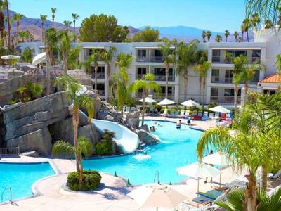 Palm Springs villa rental - Exterior of Resort and Pool at the Palm Canyon Resort