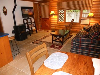 Blue River cabin rental - Living Room and Partial of Dining Area