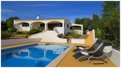 Luxury private villa with pool and views over Faro and the sea.