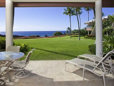 Enjoy the view from our lanai with loungers & the option of outdoor dining.