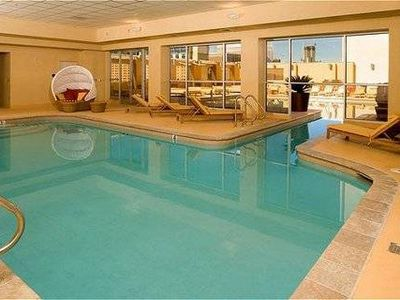 Indoor pool is connected to the outside pool.
