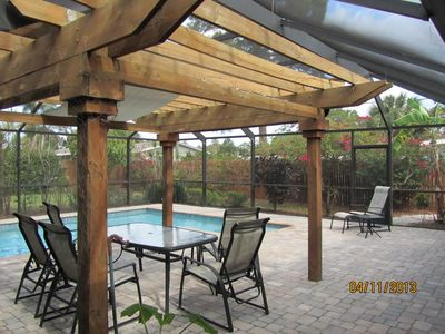 Huge screened lanai measure 33' x 37'  with lush tropical  privacy to enjoy it!