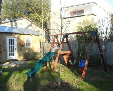 Playscape, with large covered grass area for the kids