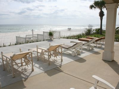 New expanded patio with plenty of room to enjoy the beach