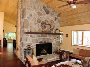 Terra Alta house rental - North end of great room (double fireplace)
