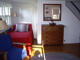 Block Island cottage photo - living room with one of the 2 twin hollywood beds