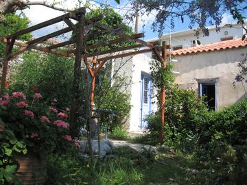 Evia cottage rental - View of house from garden