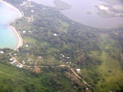 Arial View of Property (right half of Photo from road to Bay)