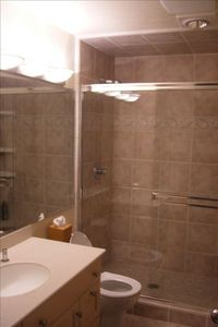 Bathroom with large shower stall