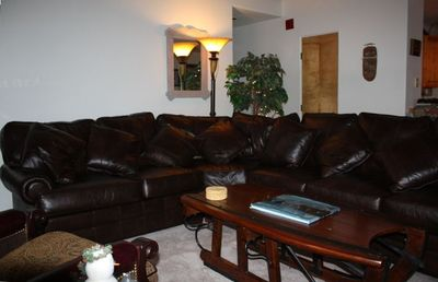 Living Room - with leather sectional sleeper sofa