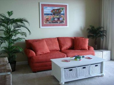 Family room is oceanfront at our Panama City Beach vacation rental at Splash