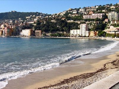 Safe sandy beach & Villefranche sur Mer Old Town on left.