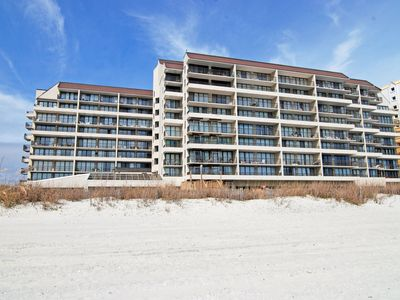 Windy Hill condo rental - View of building from beach